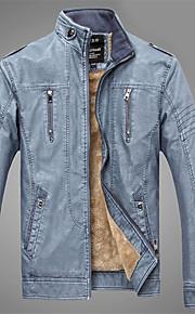 Heren Street chic Winter Leren jacks,Casual/Dagelijks Opstaand-Lange mouw Blauw / Bruin / Geel Effen PU