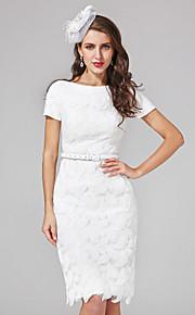 Fourreau / Colonne Mi-long Dentelle Robe de mariée avec Paillette Ceinture / Ruban par LAN TING BRIDE®
