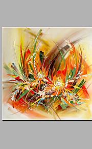 מצויר ביד מופשט / פרחוני/בוטני ציורי שמן,מודרני / קלאסי פנל אחד בד ציור שמן צבוע-Hang For קישוט הבית
