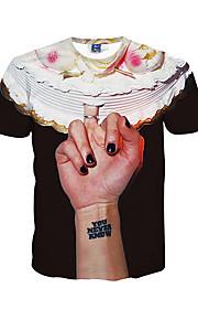 남성 프린트 라운드 넥 짧은 소매 티셔츠,심플 / 보호 / 액티브 데이트 / 비치 / 휴일 블랙 폴리에스테르 봄 / 여름 중간
