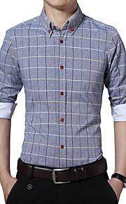 משובץ צווארון חולצה פשוטה מידות גדולות / יום יומי\קז'ואל חולצה גברים,סתיו שרוול ארוך כחול / ורוד / לבן / אפור דק כותנה