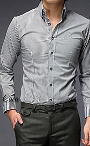 남성 솔리드 클래식 카라 긴 소매 셔츠,심플 / 스트리트 쉬크 데이트 / 캐쥬얼/데일리 / 웨딩 그레이 면 가을 얇음