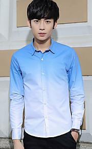אחיד צווארון חולצה פשוטה / סגנון רחוב מידות גדולות / ליציאה / יום יומי\קז'ואל חולצה גברים,סתיו / חורף שרוול ארוך כחול / אפור / ירוק דק
