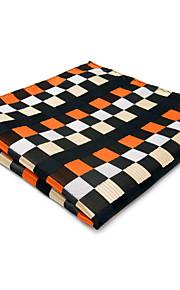 Mens Pocket Square Orange Checked Handkerchief Hanky For Men Fashion Wedding