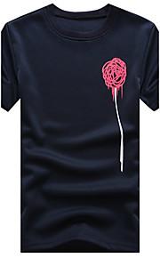 Heren Eenvoudig Zomer T-shirt,Casual/Dagelijks / Grote maten Patchwork Ronde hals Korte mouw Blauw / Wit / Zwart Katoen / Polyester Dun