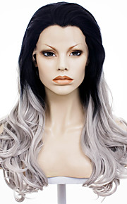 IMSTYLE 24''Heat Resistant Black Grey Ombre Long Wave Synthetic Wig Lace Front Natural Looking