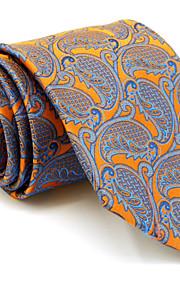 Men's Necktie Tie For Men Orange Paisley 100% Silk Jacquard Woven Business Dress Casual Wedding
