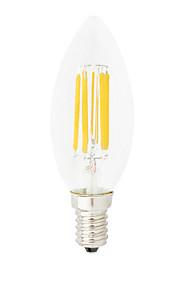 6W E14 Ampoules à Filament LED C35 6 COB 550LM lm Blanc Chaud / Blanc Froid Gradable / Décorative V 1 pièce