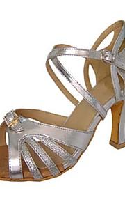 Для женщин-Сатин / Дерматин-Персонализируемая(Красный / Серебро) -Латина / Джаз / Сальса / Обувь для свинга