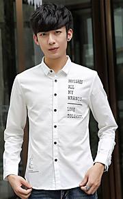 אחיד צווארון חולצה פשוטה / סגנון רחוב מידות גדולות / ליציאה / יום יומי\קז'ואל חולצה גברים,סתיו שרוול ארוך כחול / לבן / בז' / שחור דק כותנה