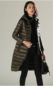 Women's Long Down Coat,Simple Casual/Daily Solid-Polyester White Duck Down Long Sleeve Black / Gray / Green