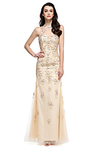2017 ts couture® balen formell klänning slida / kolumn grimma fotsid spets / tyll med applikationer / flower (s)
