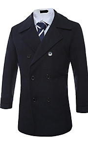 Men's Going out / Casual/Daily Vintage / Simple / Street chic Coat,Solid Notch Lapel Long Sleeve Fall / Winter Blue / Black / GreenWool /