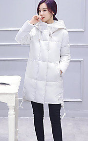 Women's Regular Padded Coat,Simple Going out Solid-Polyester Polyester Long Sleeve Round Neck Pink / Red / White / Black / Gray / Green
