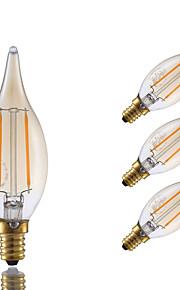 2W E12 Ampoules à Filament LED B 2 COB 160 lm Ambre Gradable / Décorative V 4 pièces