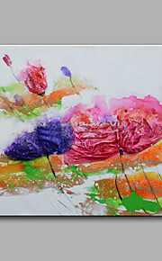 מצויר ביד מופשט / פרחוני/בוטני ציורי שמן,מודרני פנל אחד בד ציור שמן צבוע-Hang For קישוט הבית
