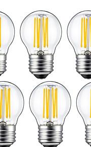 6W E26/E27 Ampoules à Filament LED G45 6 COB 560 lm Blanc Chaud Décorative V 6 pièces