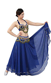 Belly Dance Outfits Performance Cotton / Polyester Beading / Crystals/Rhinestones / Paillettes / Sequins / Tassel(s) 2 Pieces Top / Belt