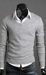 Heren Uitgaan / Casual/Dagelijks / Werk Eenvoudig / Street chic Normaal Pullover Effen-Rood / Zwart / Bruin / Grijs / Geel / Paars V-hals