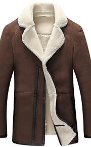 אחיד צווארון V וינטאג' / פשוטה מידות גדולות ז'קטים מעור גברים,שחור / חום / אפור שרוול ארוך סתיו / חורף עבה פוליאוריתן / פרוות כבש