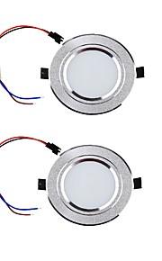 YouOKLight 2PCS 3W 300lm 3000K/6000K Warm White/White 6-SMD 5730 LED Ceiling Lamp - Silver (85265V)