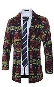 Men's Going out / Beach / Club Vintage / Boho / Street chic Coat,Geometric Notch Lapel Long Sleeve Fall / Winter Black / Yellow Cotton