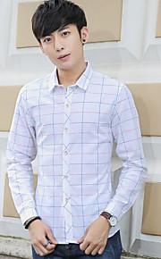 דפוס צווארון חולצה פשוטה / סגנון רחוב ליציאה / יום יומי\קז'ואל / מידות גדולות חולצה גברים,סתיו / חורף שרוול ארוך ורוד / לבן / אפור דק