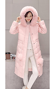 Women's Long Down Coat,Sexy / Vintage / Simple Going out / Casual/Daily Solid-Polyester White Goose Down Long Sleeve HoodedBlue / White /