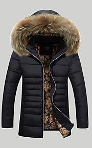 Manteau Rembourré Hommes,Long simple / Chic de Rue Décontracté / Quotidien / Habillées / Grandes Tailles Couleur Pleine-Polyester