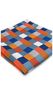 Mens Pocket Square Handkerchief Orange Checked Hanky For Men Business