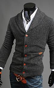 Heren Uitgaan / Casual/Dagelijks Eenvoudig / Street chic Normaal Vest Effen-Blauw / Zwart / Grijs V-hals Lange mouw Katoen Herfst / Winter