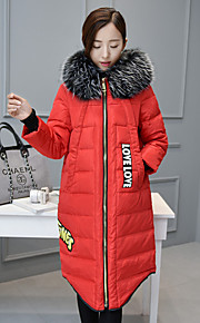 Women's Long Padded Coat,Simple Plus Size Solid-Cotton Polypropylene Long Sleeve Hooded Red / Black