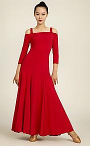 Ballroom Dance Dresses Performance Chinlon Draped 1 Piece 3/4 Length Sleeve Natural Dress