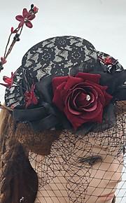 Femme Dentelle Lin Filet Casque-Mariage Occasion spéciale Décontracté Coiffure Voile de cage à oiseaux 1 Pièce
