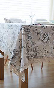 Peony Square Toile Table Cloth  Linen Material Hotel Dining Table / Table Decoration