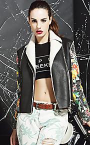 M Women's Casual/Daily Street chic JacketsPrint Notch Lapel Long Sleeve Winter Black Faux Fur Polyester Medium