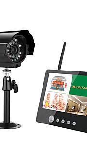 Endomoro 7 pulgadas tft digital 2.4g cámaras inalámbricas monitores 4ch quad dvr sistema de seguridad con luz nocturna ir