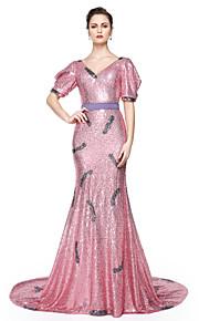 TS Couture® Formel aften Kjole - Glitrende Berømmelse stil Havfrue V-hals Gulvlang Pailletter med Bælte / bånd Paillette Plissé