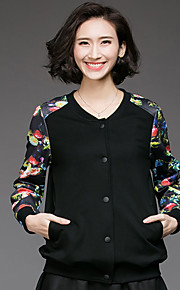 Women's Casual/Daily Simple Trench Coat,Floral V Neck Long Sleeve Fall Black Cotton Medium