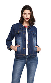 Women's Plus Size Casual/Daily Active Denim Jackets,Solid Long Sleeve Fall Blue Others