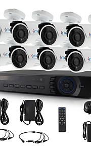 yanse® 8-kanaals 720p cctv camera beveiligingssysteem d / n ir 24LED bullet waterdichte ahd dvr kit