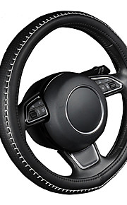 autoyouth pu lederen stuurwiel hoes zwarte kleur met witte duurzame naaigaren m size fits 38cm / 15 diameter
