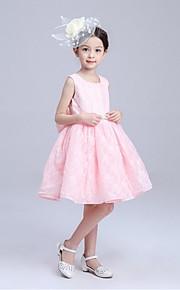 Ball Gown Knee-length Flower Girl Dress - Organza Sleeveless Jewel with Bow(s) Sash / Ribbon