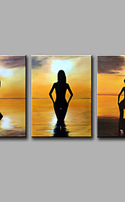 Hand-Painted  Beautiful Sunset Beach Scene Leisure  Modern Three Panels Canvas Oil Painting For Home Decoration