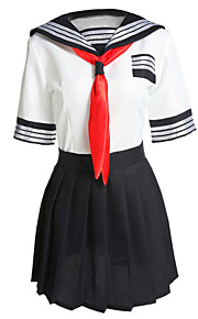 Kostiumy Cosplay Student/Mundurki szkolne Kostiumy kariery Festiwal/Święto Kostiumy na Halloween Biały Niebieski Patchwork Bluzka Spódnica