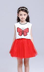 Mädchen Kleid einfarbig Druck Baumwolle Polyester Sommer Ärmellos