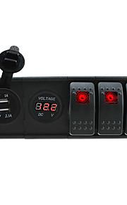 dc 12v / 24v geleid digitale 3.1a dual usb lader voltmeter stopcontact met rocker schakelaars jumper draden en huisvesting houder