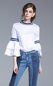 FRMZ Women's Going out Simple Spring Summer ShirtSolid Round Neck Long Sleeve White Cotton