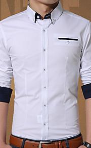 メンズ お出かけ カジュアル/普段着 春 秋 シャツ,活発的 シャツカラー ソリッド コットン 長袖 薄手