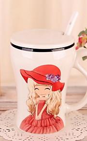 카툰 드링크웨어, 400 ml 여자 친구 선물 세라믹 누드 우유 일상용 컵
